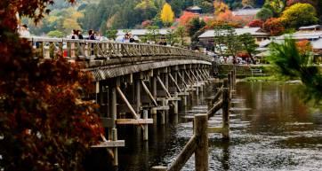 Wooden bridge in autumn near Kyoto's bamboo forest
