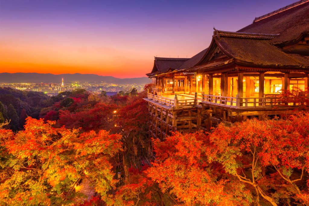 kyoto autumn illuminations at Kiyomizudera