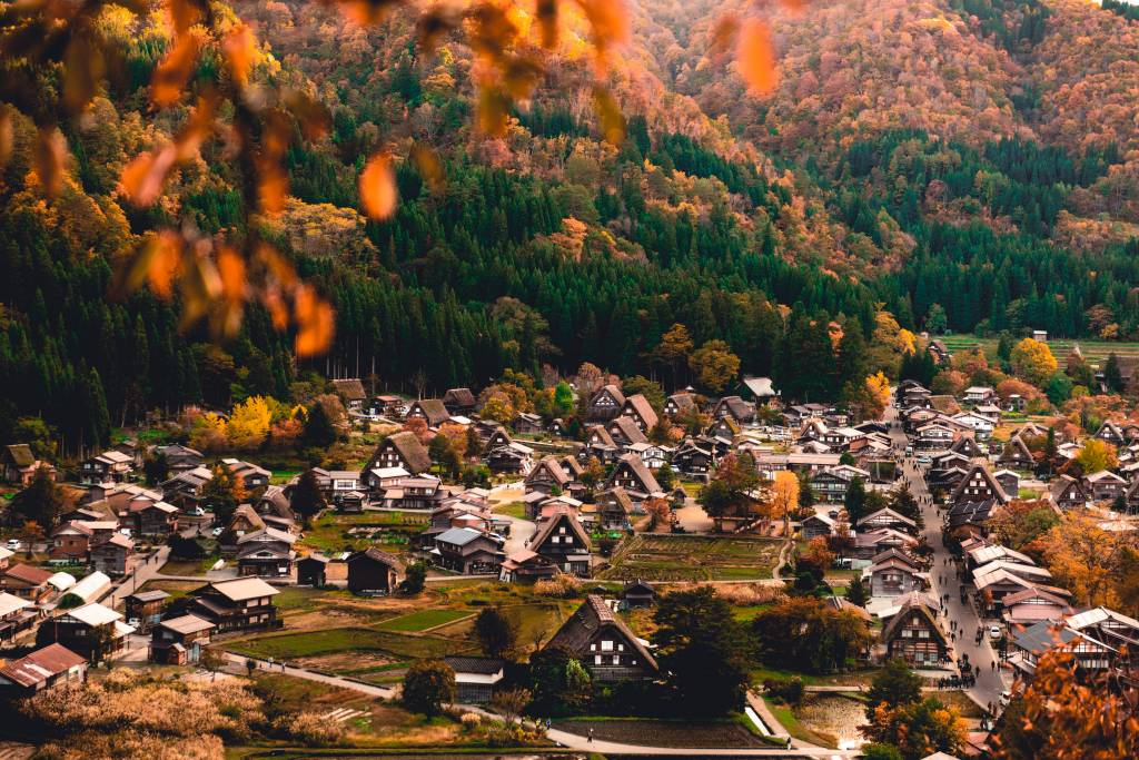 top view of Shirakawa-go village during Autumn Season on October in Japan