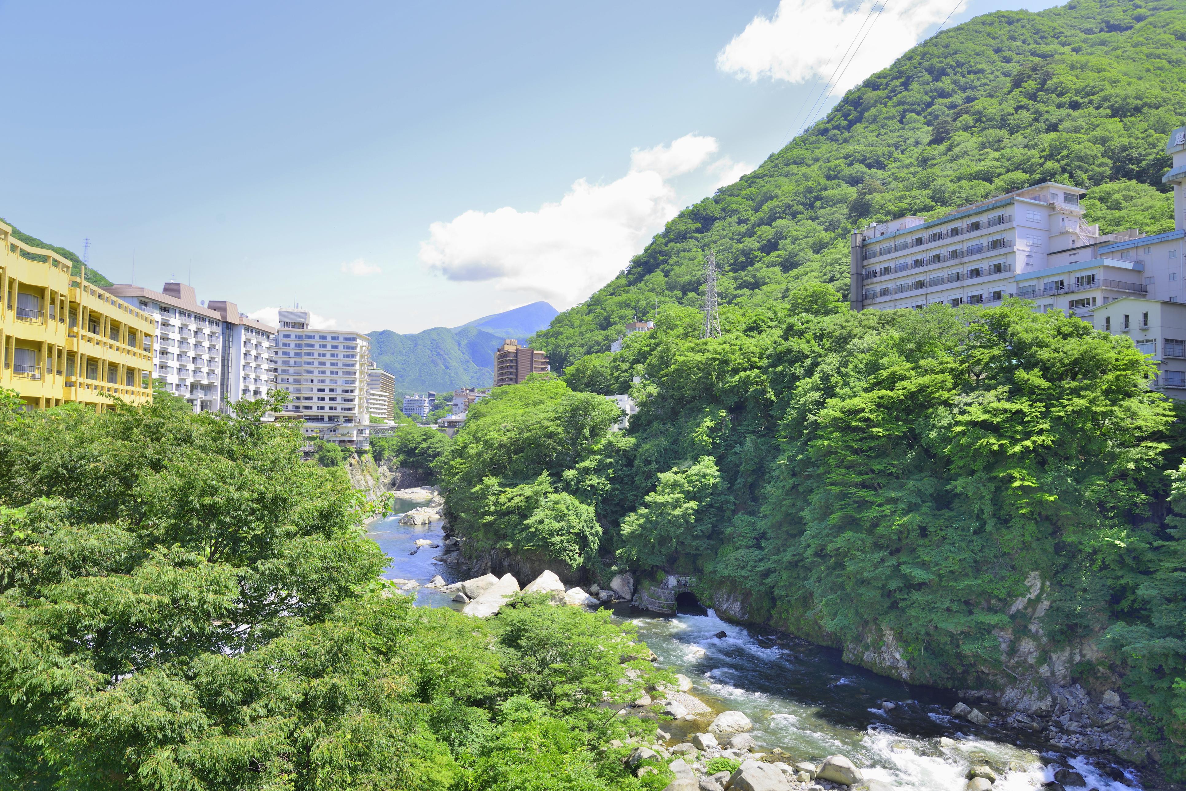 Kinugawa Onsen in summer with greenery